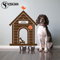 Pet Dog House Home Animal Customized Name Puppy Paw Print Bone Vinyl Wall Sticker Decal Stickers
