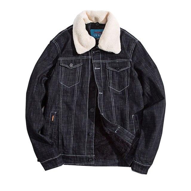 2017 New Winter Washed Black Fashion Men Woolen Denim Jacket With