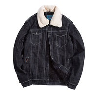 2017 New Winter Washed Black Fashion Men Woolen Denim Jacket With Fur Collar Oversize Casual Jeans Jacket Velvet Outwear Coat