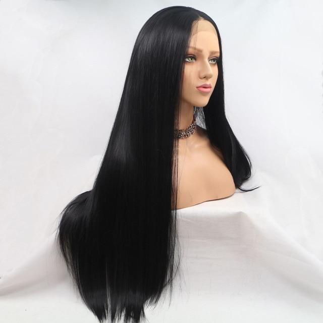 ماركويشا ألياف مقاومة للحرارة الشعر شعر مستعار اصطناعي حورية البحر أسود اللون الحرير مستقيم الاصطناعية الدانتيل الجبهة الباروكات للنساء السود