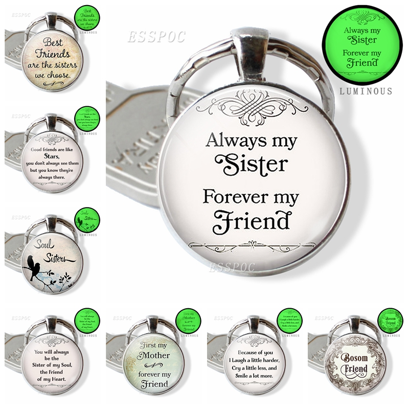 Sister Jewelry, Best Friend Keychain, First Mother Pendant, Sisters Always Key Chains Glow In The Dark Handmade Gifts For Lovers