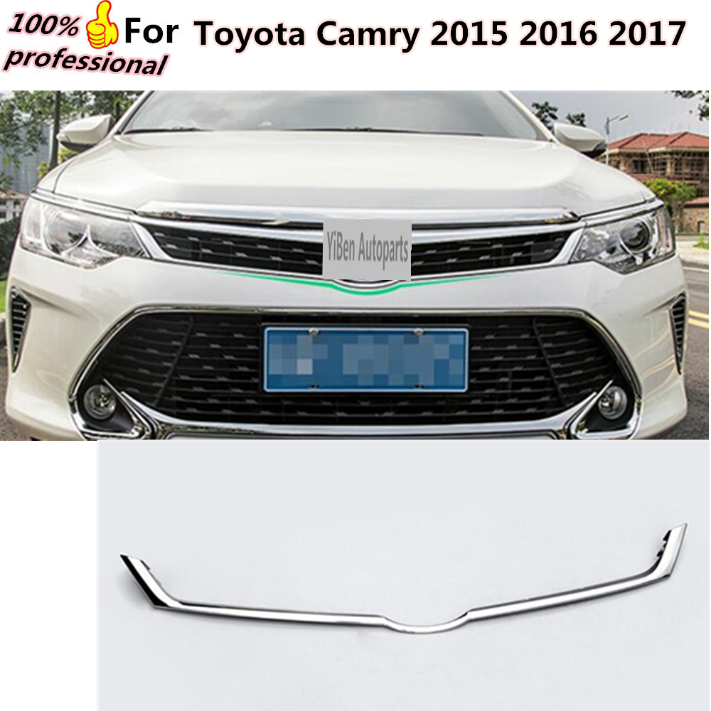 Car body styling cover detector ABS chrome trim Front up Grid Grill Grille Around 1pcs for Toyota Camry 2015 2016 2017 for toyota corolla altis 2014 2015 2016 car body styling cover detector abs chrome trim front up grid grill grille hoods 1pcs