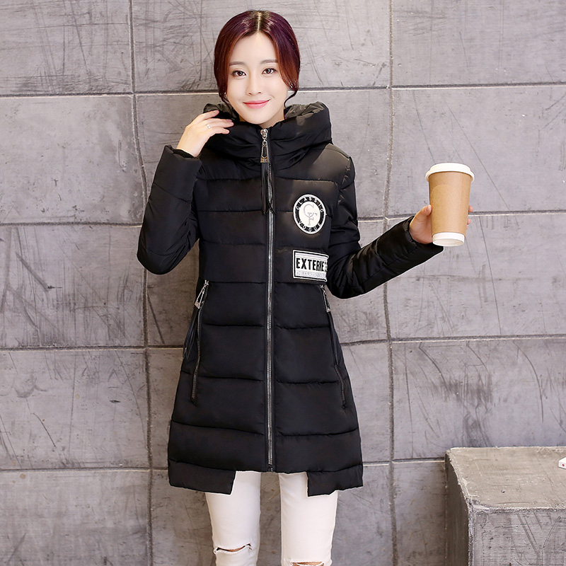 Ücretsiz Kargo Yeni 2016 Kış Aşağı Ceket Kadın Kat Artı boyut M ~ 2XL Parka Ince Moda Uzun Ceketler Kadın Kış Ceket Parkas