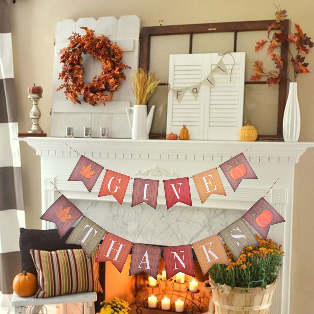 Give Thanks Banner Thanksgiving Decorations Fall Leaf Pumpkin Vintage Sign Bunting Garland Event Festival Autumn Party Supplies