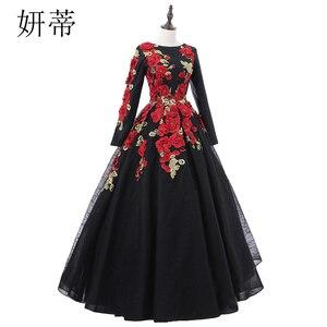 Image 3 - VINTAGE ลูกไม้สีดำแขนยาว Ball Gown Dresses 2019 ดอกไม้ Applique Beading Scoop คอทำจากชุดราตรี