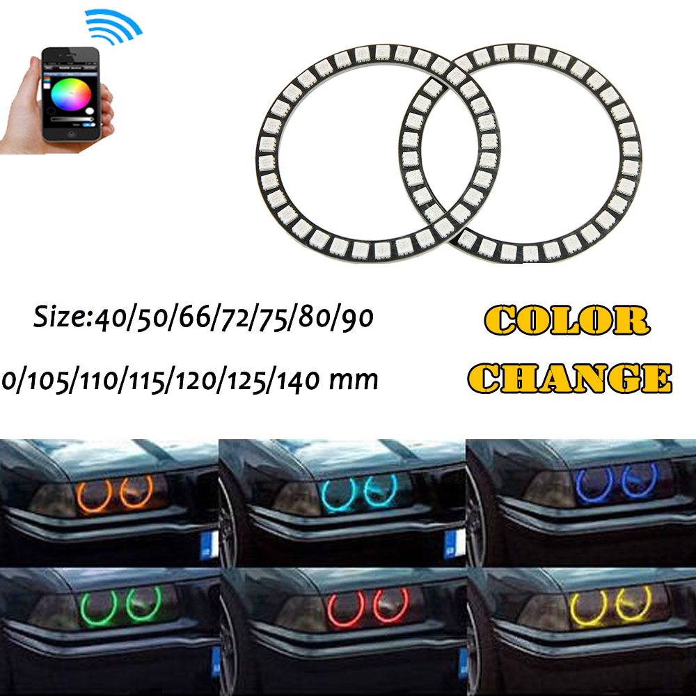 2PCS RGB Multi-Color Halo Rings kit 40mm 50mm 66mm 72mm 75mm 80mm 100mm 120mm Angel Eyes wifi Remote Control for 12V Car styling hochitech rgb multi color halo rings kit car styling for bmw 3 series e90 05 08 halogen headlight angel eyes wifi remote control