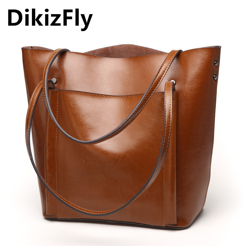 New Women Bag Genuine Leather Handbag Casual Women's Tote Famous Brand Large Capacity Vintage Shoulder Messenger Bags fashion new genuine leather women bag messenger bags casual shoulder bags famous brand fashion designer handbag bucket women totes 2017