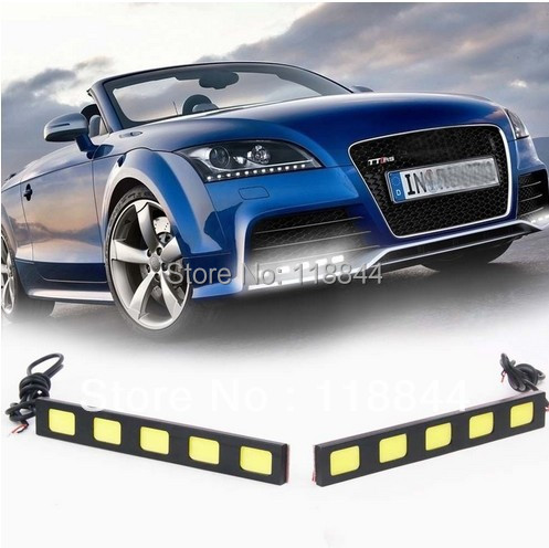 2PCS 5 COB LED Driving Daytime Running Light Car Pickup Truck DRL Fog Lamp Kit Free Shipping 2pcs set new design drl led daytime running lamp auto cob light 100% waterproof car accessories free shipping