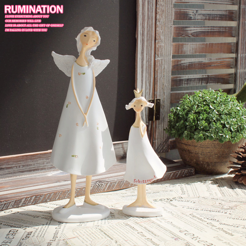 Mother And Daughter Resin Fairy Figurines 2pcs Set Handmade Beautiful Angel Wedding Home Decoration Gifts Crafts In Miniatures From