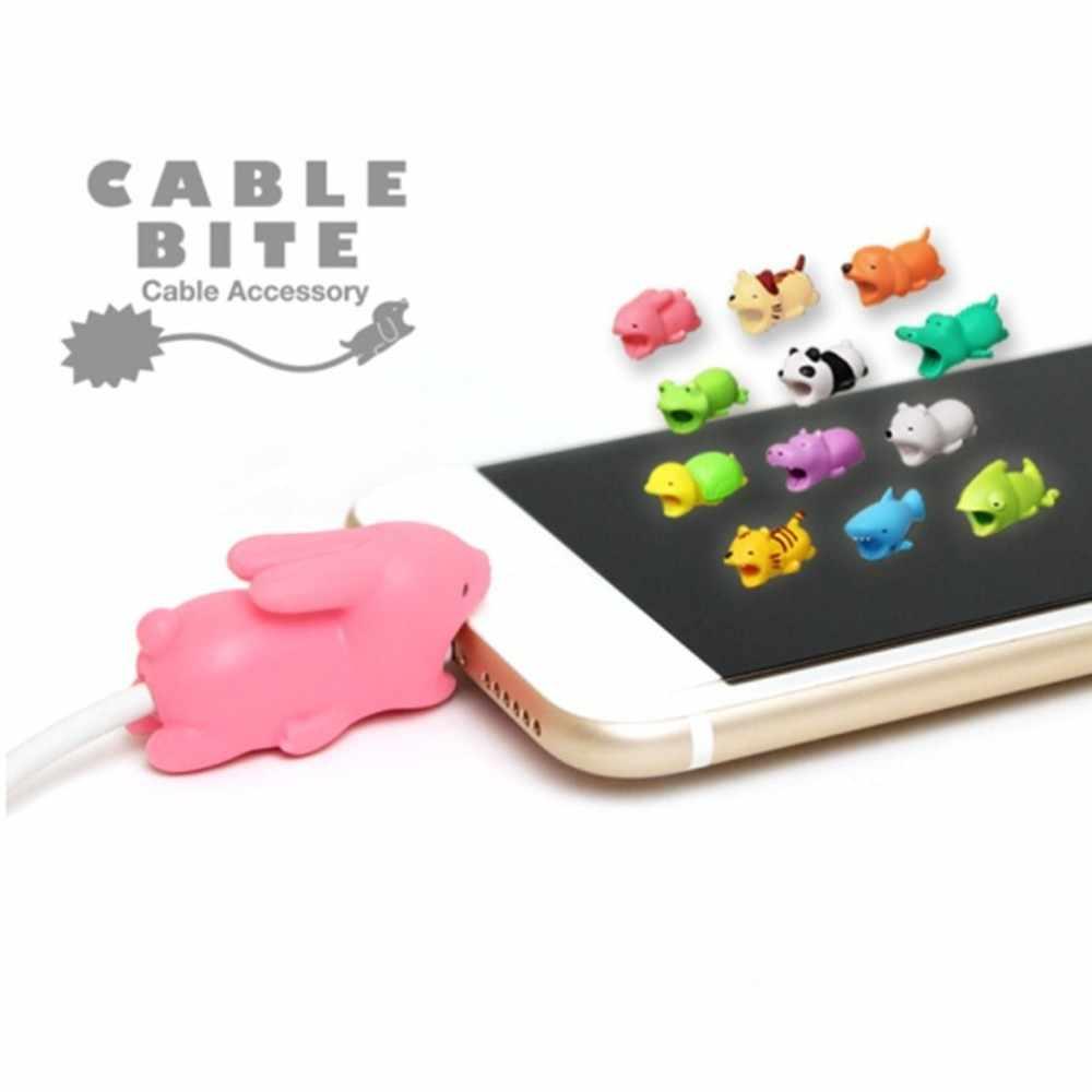 Animal bonito dos desenhos animados anti quebra capa protetora usb cabo de dados usb carregador cabo fones de ouvido cabo manga protetora para iphone