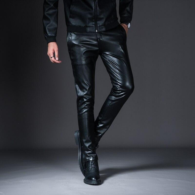 HTB19KCvXfjsK1Rjy1Xaq6zispXaK New Winter Mens Skinny Biker Leather Pants Fashion Faux Leather Motorcycle Trousers For Male Stage Club Wear