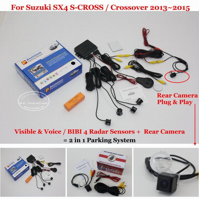 Car Parking Sensors + Rear View Back Up Camera = 2 in 1 Visual / BIBI Alarm Parking System For Suzuki SX4 S-CROSS / Crossover for citroen berlingo saxo xsara car parking sensors rear view camera 2 in 1 visual bibi alarm parking system