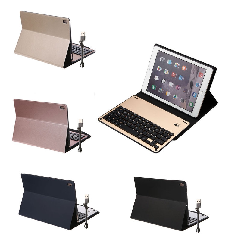 OOTDTY Keyboard Holster Detachable Faux Leather Aluminum Bluetooth Keyboard Case Cover For iPad Pro 10.5 art holster w15090953672