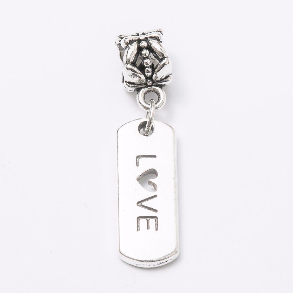 30pcs Plate LOVE silver Bead fit Pandora charm bracelet DIY dangle Charm for pendants jewelry making JS1123