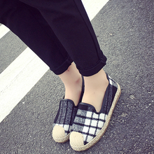 Free shipping Spring plaid linen cloth shoes flat shoes fisherman hemp rope woven grass bottom shallow mouth shoes a pedal
