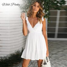WildPinky Deep V-neck Sexy Ruffles Tie Up Spaghetti Strap Dress Women Summer White Mini Party Elegant Beach Vestidos