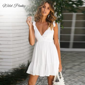 WildPinky Deep V-neck Sexy Ruffles Tie Up Spaghetti Strap Dress Women Summer White Mini Party Dress Elegant Beach Dress Vestidos guidecraft dress up cubby center white