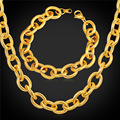 13MM Chain Bracelet And Chunky Necklace Men Jewelry Set Stainless Steel Black Gun/Gold Plated Dubai Jewelry Set 2016 GNH2151