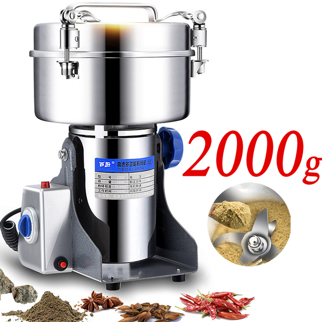 2000g/3600W Electric Grinder Dry Food/Coffee/Grains Pepper Mill Powder  Muller Stainless