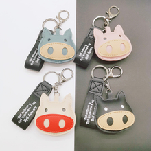 2019 New 3D cute pig couple keychain for Lovers Gift Trinket lovely key holder women present Chaveiro sleutelhanger cute cartoon style couple lovers keychain silver pair