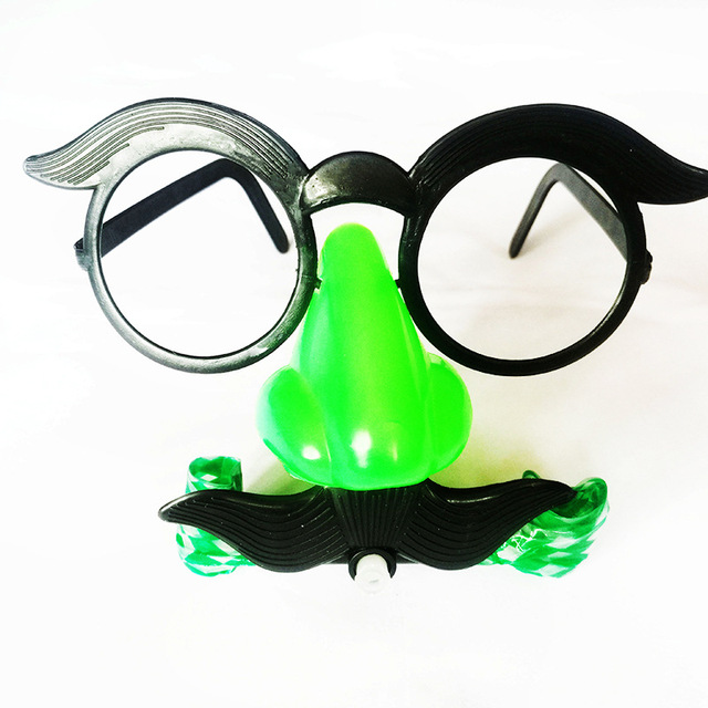 1 PC Óculos de Palhaço Engraçado Traje Bola Redonda Quadro Nariz Vermelho Apito soprar dragão piada Bigode Nariz Falso Cabelo brinquedo Brinquedo de Humor