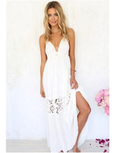 цена на Boho Women Long Dress Backless Halter V Neck Maxi Beach Bohemia Dresses Sundress White Tee Neck Sleeveless Dress