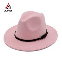 QIUBOSS классический ремень Пряжка декор Женская шерстяная фетровая шляпа с широкими полями джазовые шляпы дамы Панама шляпка для официальных мероприятий карнавал чародейные шляпы
