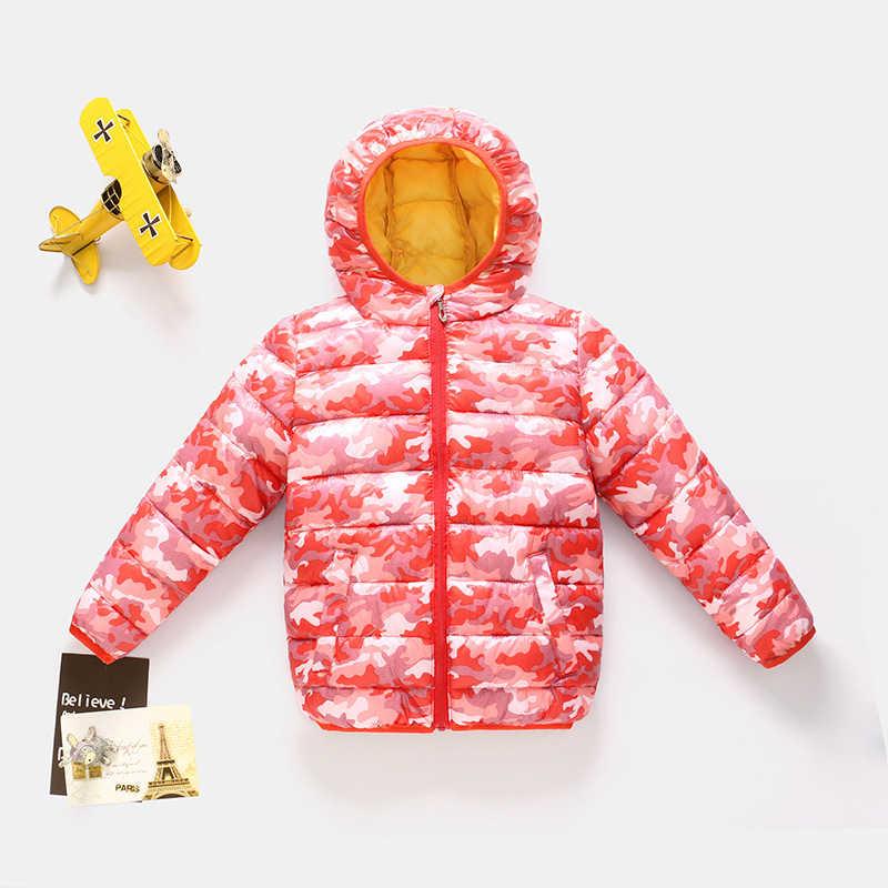 Heiße art und weise Herbst Winter Kinder Junge Mädchen Camouflage Unten Jacke Baby Jungen Mädchen Kinder Warme Lange Hülse Mantel ski anzug