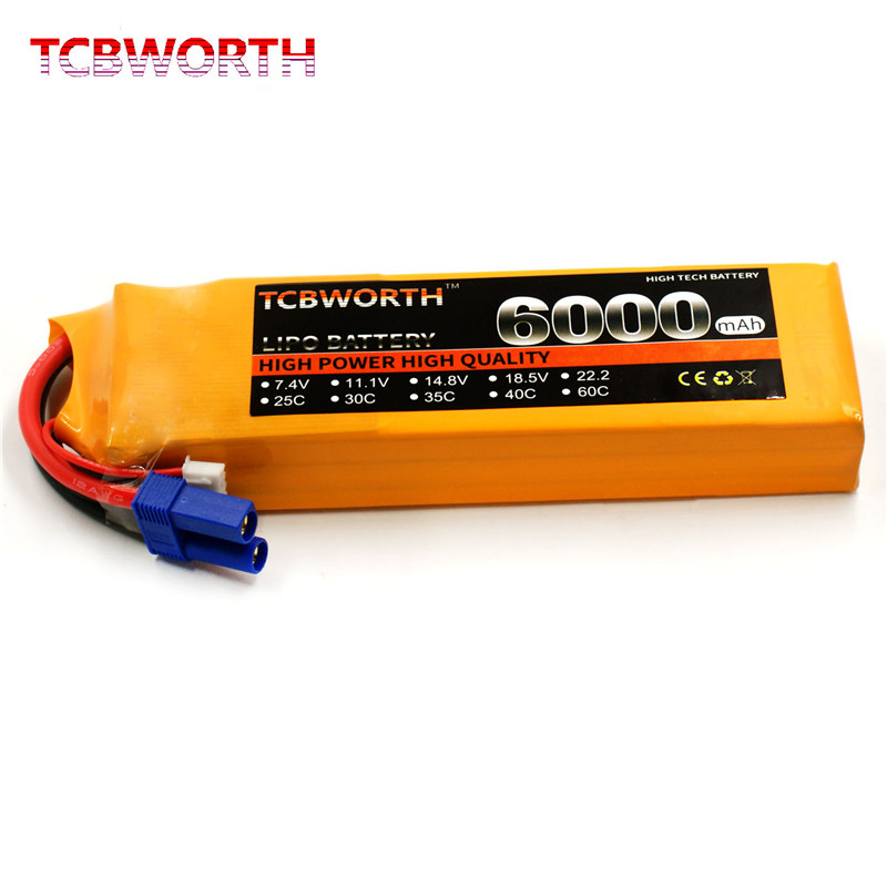 TCBWORTH RC Lipo Battery 11.1v 6000mAh 40C Max 80C 3s for RC Airplane Boat Drone High-power Cell 3s Li-poly Batteria mos rc airplane lipo battery 3s 11 1v 5200mah 40c for quadrotor rc boat rc car