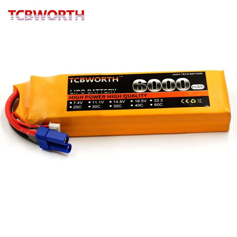 TCBWORTH RC Lipo batterie 11.1 v 6000 mAh 40C Max 80C 3 s pour RC avion bateau Drone haute puissance cellule 3 s li-poly Batteria