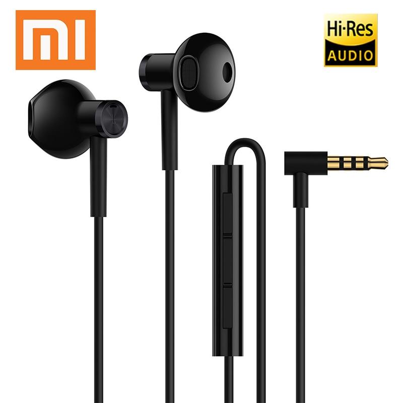 Original Xiaomi Hybrid DC Dual Driver Earphone Wired L Shape Plug MEMS Microphone Universal Half In-Ear Headset 3.5mm Earphones