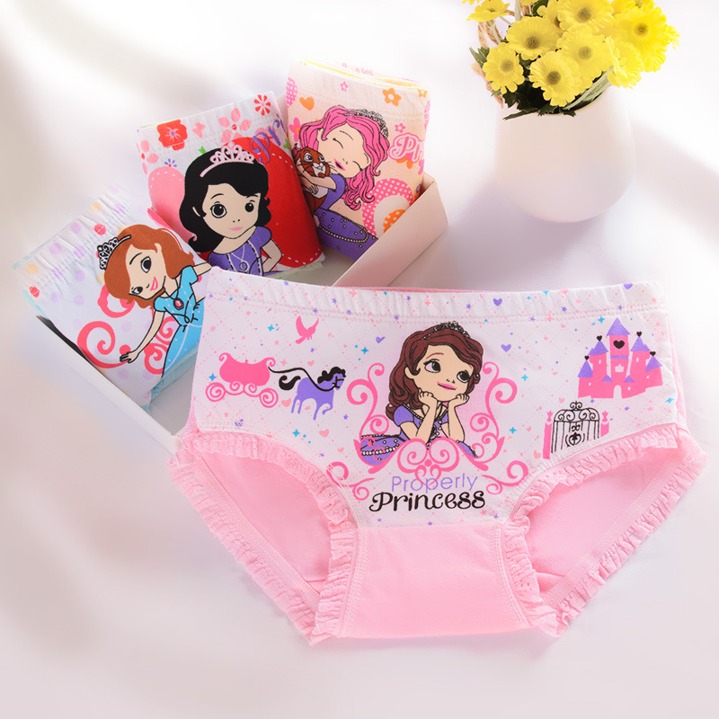 4pcs/set 2018 New Cotton Boxer Briefs princess Girls Underwear Children Kids Baby cartoon   Panties   Underpants