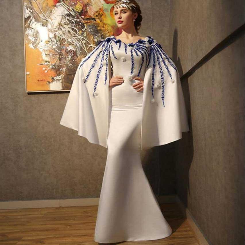 Preciso New Dubai Fiori Di Perline Formale Sirena Da Sera Dress Arabo Prom Dresses Abiti Da Sera Con Mantello Robes De Soiree 2017 Longue Wh62