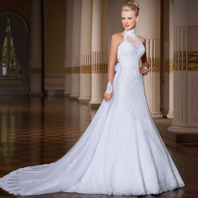 Wow Amazingly High Neck Lace Wedding Dress 2017 With Removable Train Vestido De Noiva