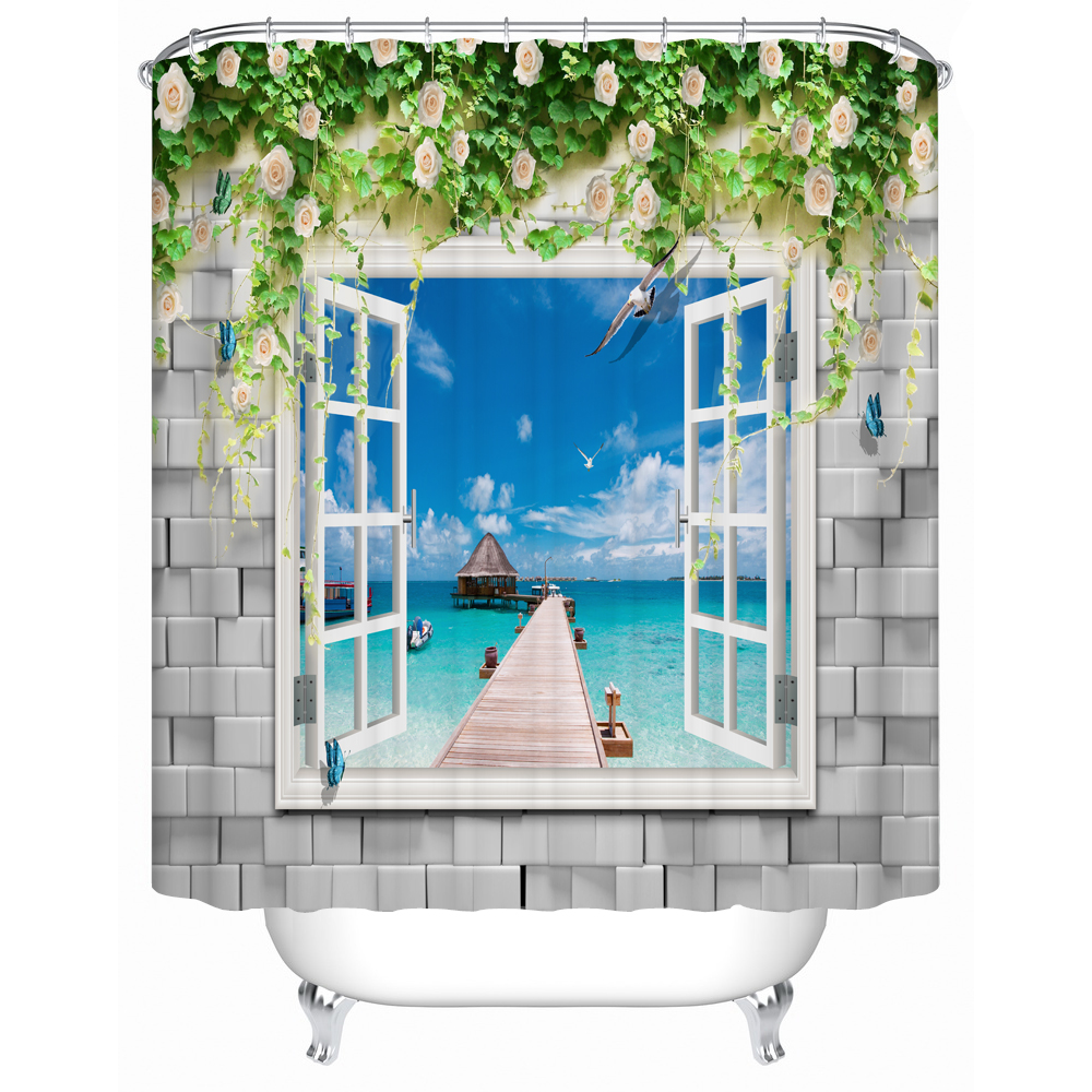 Mermaid shower curtains - Shower Curtains Beautiful Seaside Scenery Eco Friendly Bathroom Products Shower Curtains Bathroom Curtain Fj