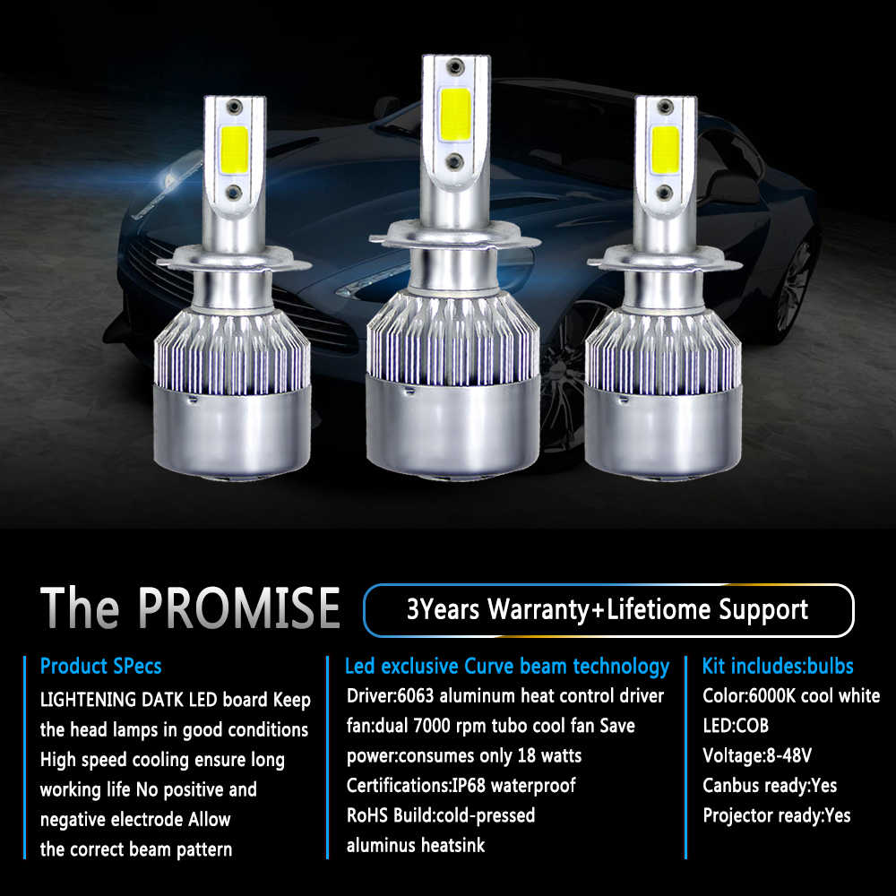 PAMPSEE C6 Super Bright LED Car Headlight H1 H3 H4 H7 Headlamp Light H11 HB3/9005 HB4/9006 9012 9007 H13 6000K 72W 7600LM