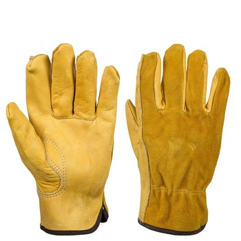 6 pair Safety gloves Cowhide Men  Work Driver Gloves Security Protection Wear Safety Workers Welding Hunting Gloves Art No:1008