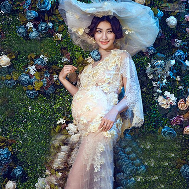 Gravidez Elegante Fantasia Vestido de Maternidade De Renda Branca Fotografia Adereços Mulheres Grávidas Dresse Estilo Real Photo Vestido de Roupas flor