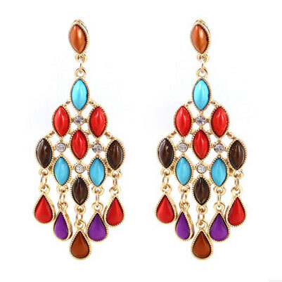 Fashion Jewelery New Coming Wholesale Plated Zinc Alloy Colorful Water Drops Tassels Earrings for Women