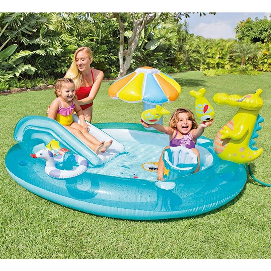 Diapositives d'eau de jardin gonflable   Lames, en plastique, piscina, rond gonflable, avec parapluies, seau piscine
