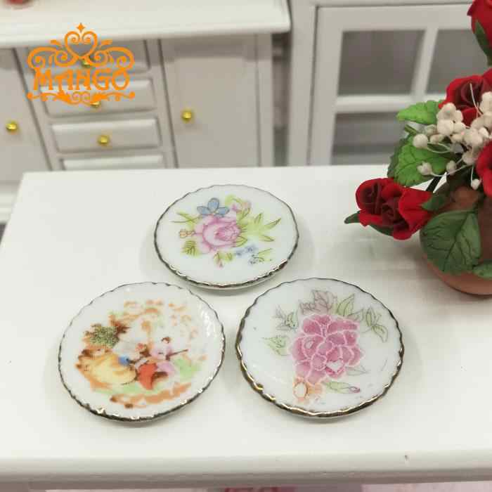 1:12 Dollhouse Miniature white dishs set tableware Porcelaine dining room 3 pcs plate