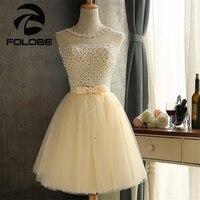 Robe De Soiree Stock Vestidos Champagne White Red Sheer Neck Lace Appliques A Line Mini Bridesmaid