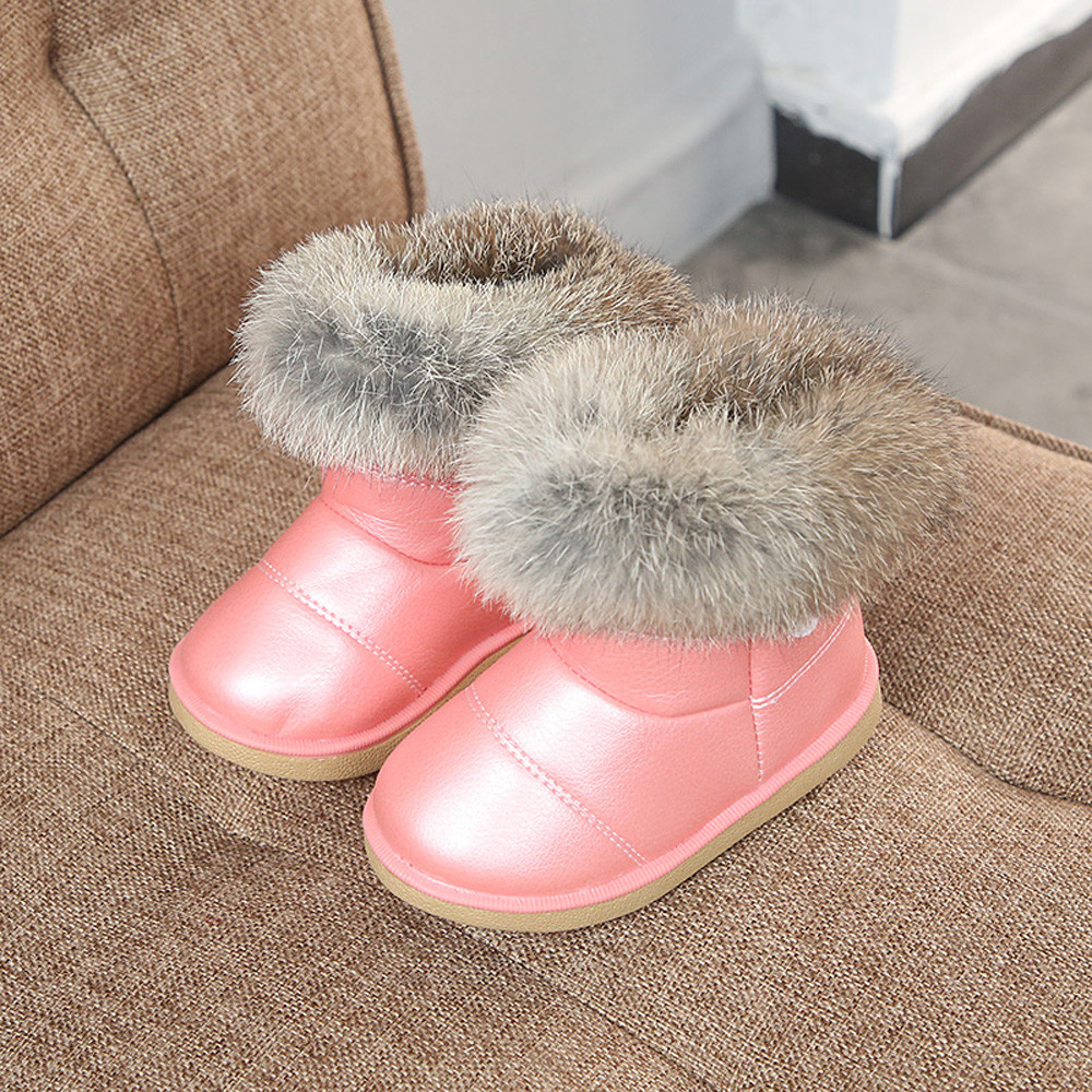 Baby Toddler Children Girl Winter Snow Boots Warm Fur Shoes UK size 4.5 to 8.5