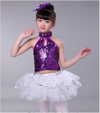 d3d4425159 US $11.46 12% OFF|New Sequin Kidsz Jazz costume Top and Skirt Dance  Performing Dresses Child Stage Dance Costumes for Girls on Aliexpress.com |  ...
