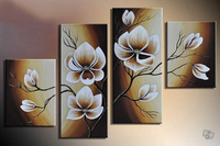 100%Hand Painted 4 pcs/set Abstract Art Flowers Landscape Wall Oil Painting On Canvas Scenery Home Decoration Gift