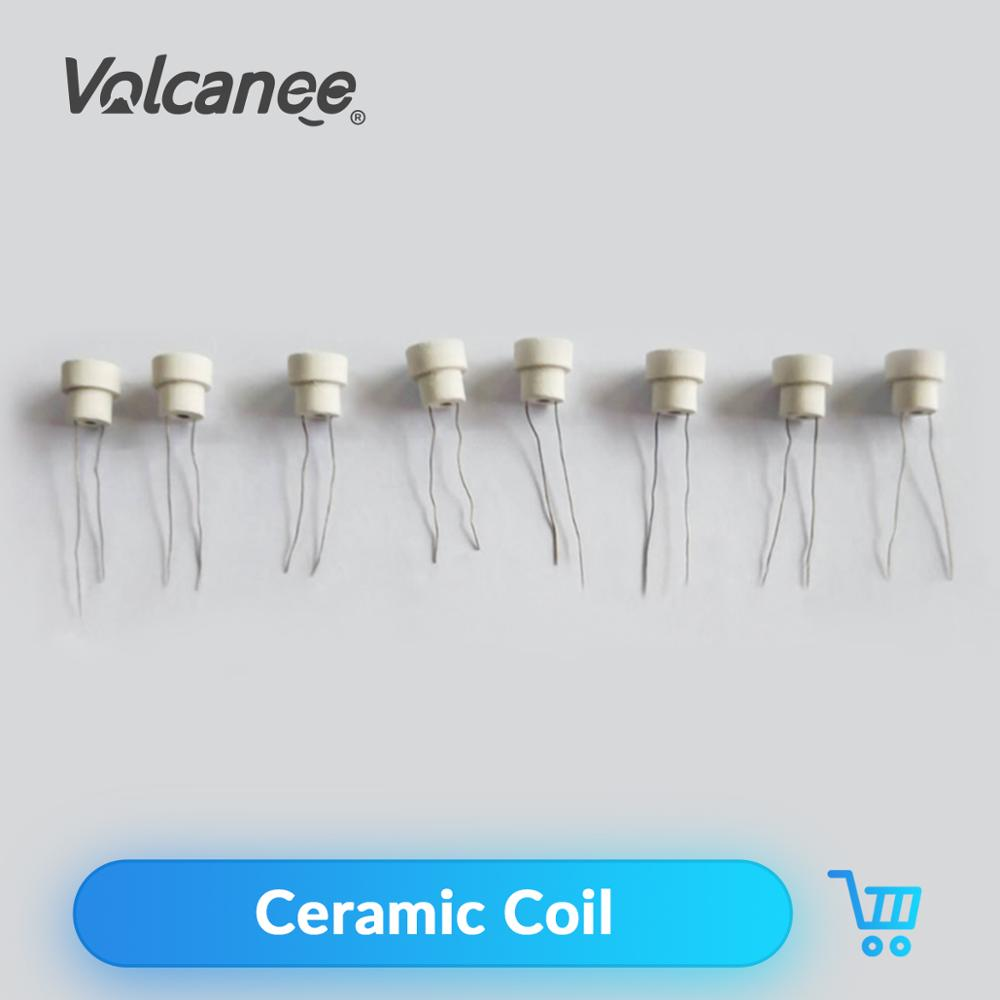 Volcanee 10Pcs Premade Ceramic Coil 1.0ohm 1.3ohm 1.5ohm Oil-Absorbing For CBD Vape Cartridge DIY ECig Ceramic Heating Wire