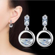 Everoyal Top Quality Silver 925 Girls Drop Earrings For Women Jewelry Charm Crystal Ocean Lady Party Accessories