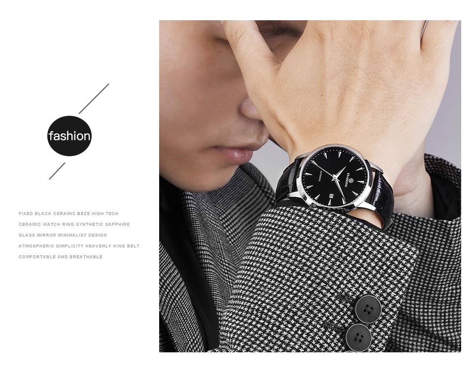 HTB19KGJcYArBKNjSZFLq6A dVXaI STARKING Automatic Watches Men Stainless Steel Business Wristwatch Leather Fashion 50M Waterproof Male Clock Relogio Masculino