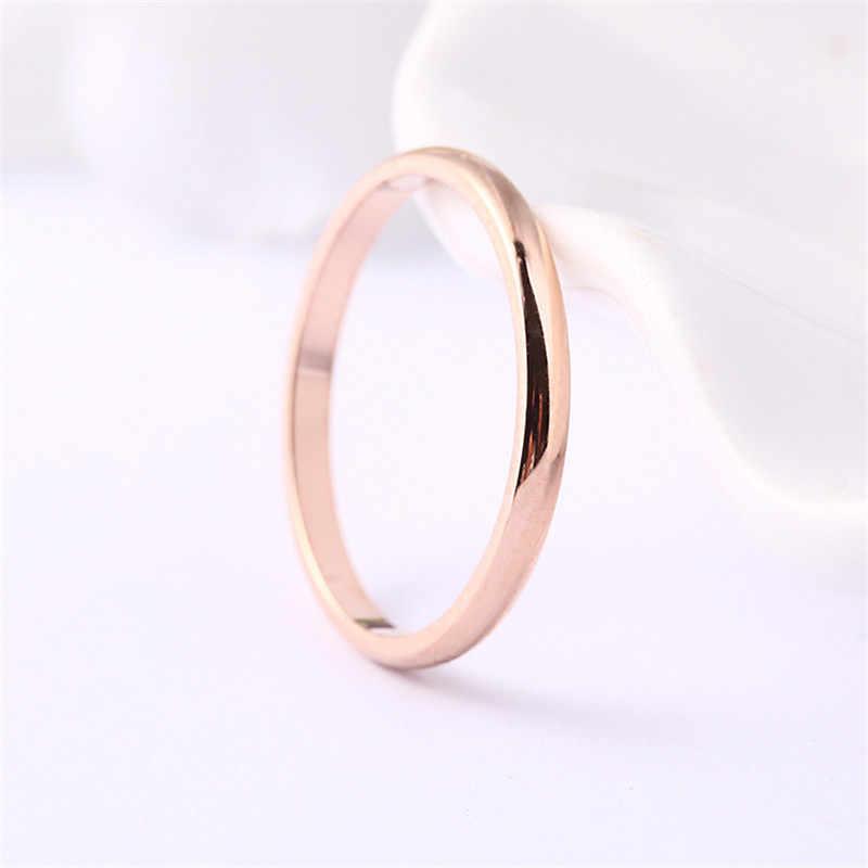 الكورية 2 مللي متر رقيقة التيتانيوم الصلب 3 اللون زوجين حلقة بسيطة موضة الوردي الذهب الفضة خواتم الاصبع للنساء مجوهرات الزفاف حفلة