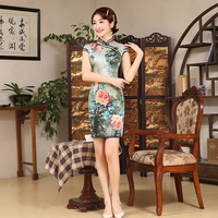 Satin Women Chinese Traditional Dress Summer Style Vintage Cheongsam Qipao Elegant Short Printed Party Dress Female